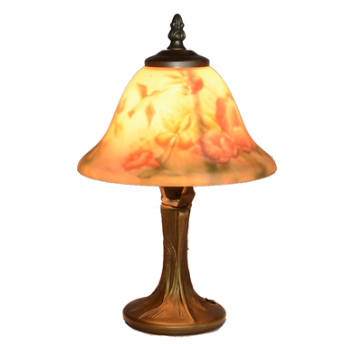 TRH080023 8 inch Reverse Hand Painted Lamp Hummingbird and flower bell lampshade Grape glass  table
