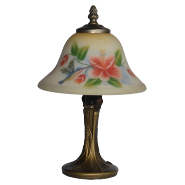 TRH080024 8 inch Reverse Hand Painted Lamp Hummingbird and flower bell lampshade Grape glass  table