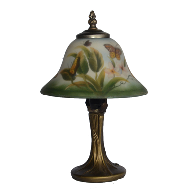 TRH080025 8 inch Reverse Hand Painted Lamp butterfly and flower bell lampshade Grape glass  table