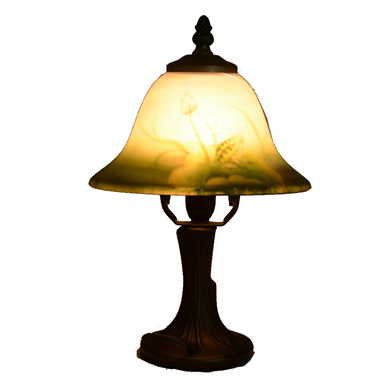 TRH080027 8 inch Reverse Hand Painted Lamp fog and Lotus bell lampshade Grape glass  table
