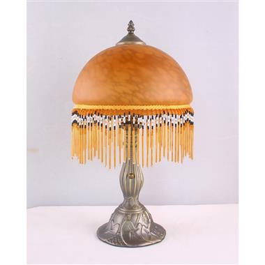 TRH100001BR 10 inch Reverse Hand Painted Lamp  fringed glass table lamp Grape glass table lamp