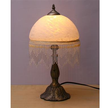 TRH100001wt 10 inch Reverse Hand Painted Lamp  fringed glass table lamp Grape glass table lamp