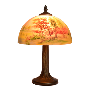 TRH100003 10 inch Reverse Hand Painted Lamp  Mangrove landscape Grape glass table lamp factory