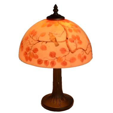 TRH100004 10 inch Reverse Hand Painted Lamp  bird on the tree Grape glass table lamp factory