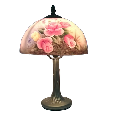 TRH100005 10 inch Rose Reversed Hand Painted Table Lamp glass table light