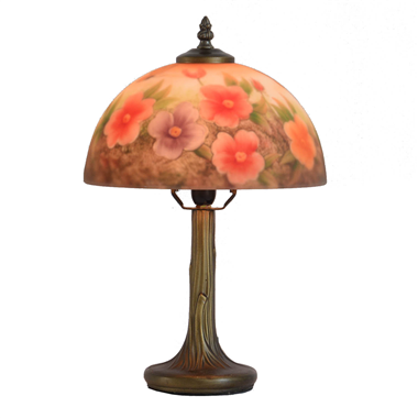 TRH100006 10 inch Reverse Hand Painted Lamp  opening flower Grape glass table lamp factory