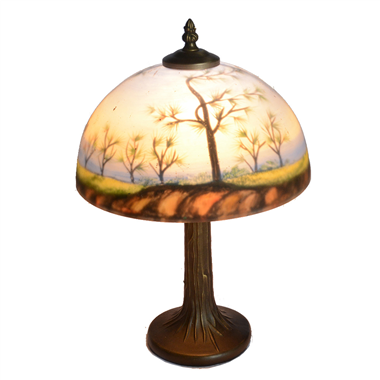 TRH100008 10 inch Reverse Hand Painted Lamp forest landscape Grape glass table lamp factory