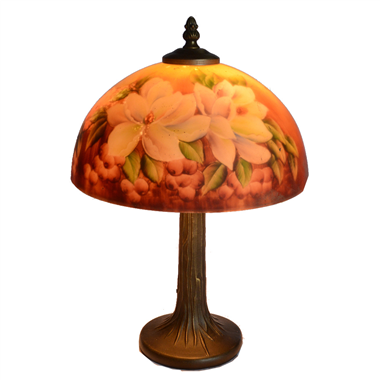 TRH100009 10 inch Reverse Hand Painted Lamp Blooming flower Grape glass table lamp factory