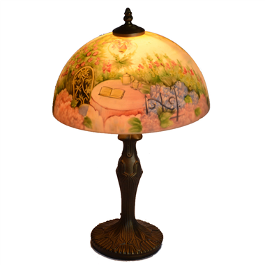 TRH120003 12 inch Reverse Hand Painted Lamp  Back garden view Grape glass table lamp factory