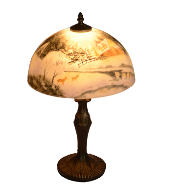 TRH120005 12 inch Reverse Hand Painted Lamp winter scene with snow Grape glass table lamp jiufa fact