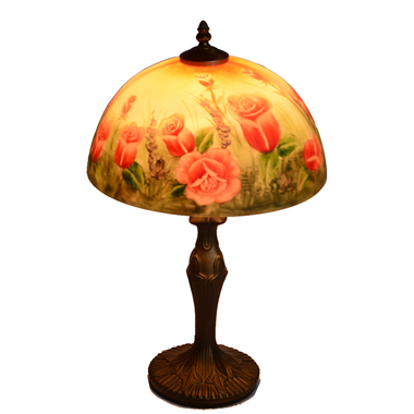 TRH120006 12 inch Reverse Hand Painted Lamp glowing tulips Grape glass table lamp jiufa factory
