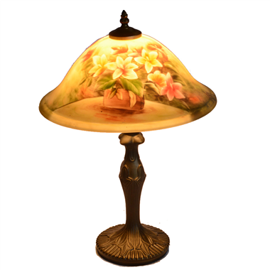 TRH130002 13 inch Reverse Hand Painted Lamp glowing flower Grape glass table lamp factory