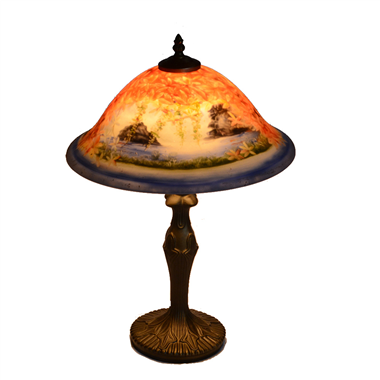 TRH130003 13 inch Reverse Hand Painted Lamp Red autumnal leaves Seascape Grape glass table lamp fact