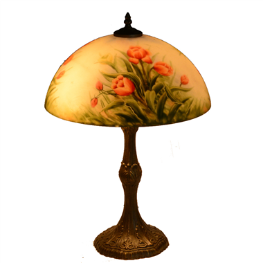 TRH140002 14 inch Reverse Hand Painted Lamp Tulips Grape glass table lamp factory