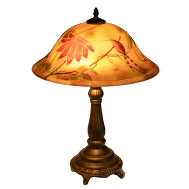 TRH160004 16 inch Reverse Hand Painted Lamp bird and flower Grape glass table lamp lighting factory