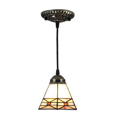 PL070002 7 inch Mini Pendant Light Antique Bronze and Art Glass Shade