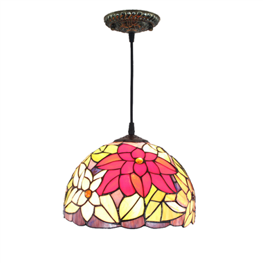 PL120013 12 inch Flower Tiffany Style Pendant Lamp stained glass hanging lighting