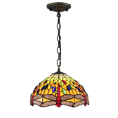 PL120017 12 inch Drangonfly Tiffany Style Pendant Lamp stained glass hanging lighting