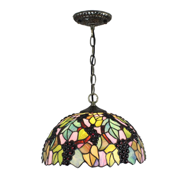 PL120032 12 inch Grape Tiffany Style Pendant Lamp stained glass hanging lighting