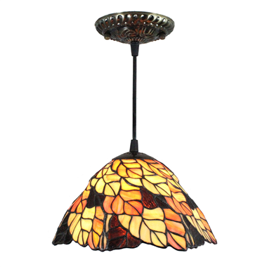 PL080006 8 inch Leaf Tiffany Style Pendant Lamp stained glass hanging lighting