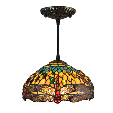 PL080008 8 inch drangonfly Tiffany Style Pendant Lamp stained glass hanging lighting