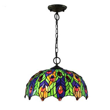 PL160016 16 inch Peacock flaunting its tail Tiffany Style Pendant Lamp stained glass hanging lightin
