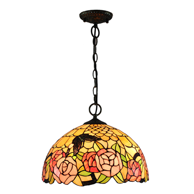 PL160017 16 inch butterfly and roseTiffany Style Pendant Lamp stained glass hanging lighting