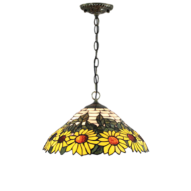 PL160027 16 inch Flower Tiffany Style Pendant Lamp stained glass hanging lighting