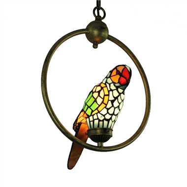 PL00001 Single Parrot on the ring tiffany pendant lamp