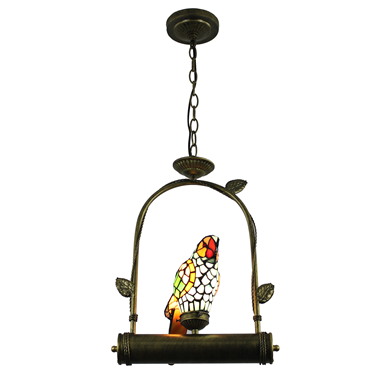 PL00002 Single Parrot on the ring tiffany pendant lamp