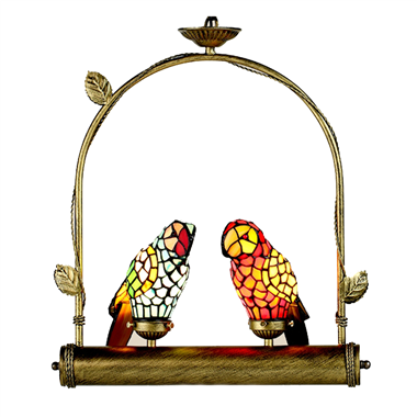 PL00003 Two Parrots on the ring tiffany pendant lamp