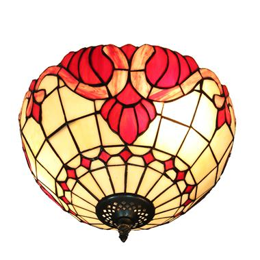 CE120001 12 inch tiffany ceiling lamp Round Glass Flush Mount Ceiling Lighting