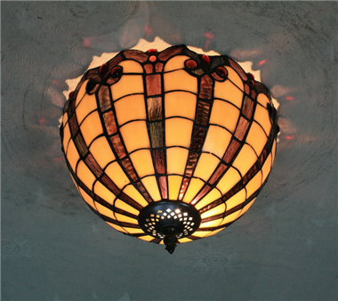 CE120017 12 inch tiffany ceiling lamp Round Glass Flush Mount Ceiling Lighting