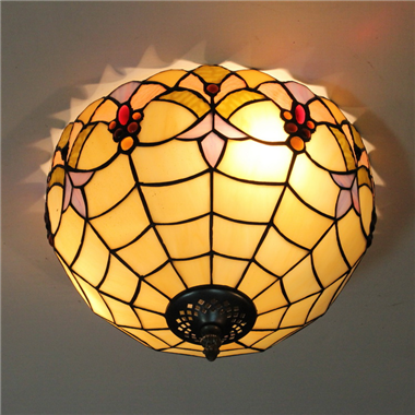 CE120019 12 inch tiffany ceiling lamp Round Glass Flush Mount Ceiling Lighting