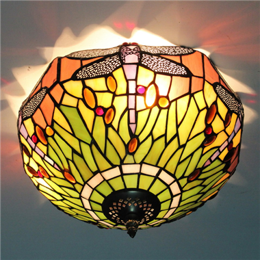 CE120020 12 inch tiffany ceiling lamp Round Glass Flush Mount Ceiling Lighting