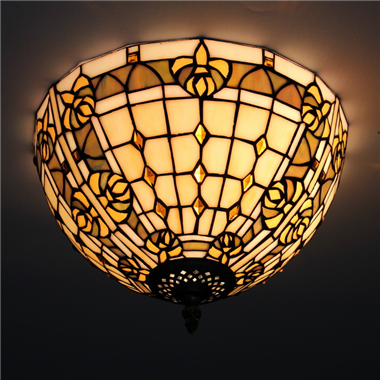 CE120021 12 inch tiffany ceiling lamp Round Glass Flush Mount Ceiling Lighting
