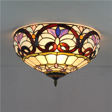 CE120022 12 inch Tiffany Style ceiling lamp Round Glass Flush Mount Ceiling Lighting