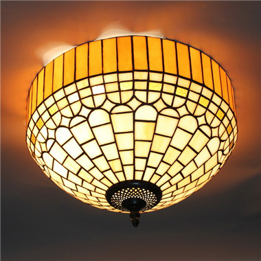 CE120023 12 inch tiffany ceiling lamp Round Glass Flush Mount Ceiling Lighting