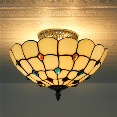 CE120024 12 inch tiffany ceiling lamp Round Glass Flush Mount Ceiling Lighting