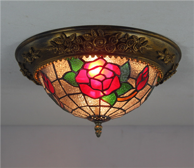 CE120026 12 inch rose tiffany ceiling lamp Round Glass Flush Mount Ceiling Lighting