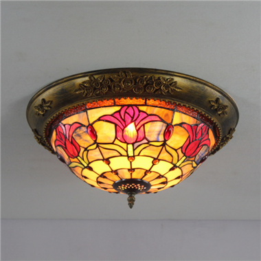 CE120027 12 inch tiffany ceiling lamp Round Glass Flush Mount Ceiling Lighting