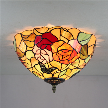 CE120028 12 inch tiffany ceiling lamp Round Glass Flush Mount Ceiling Lighting