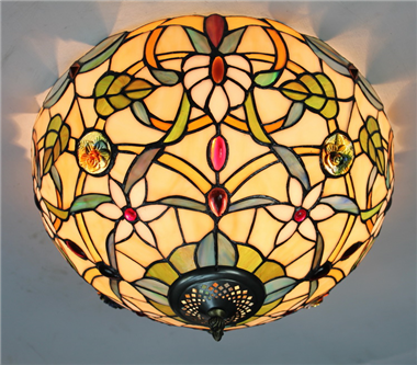 CE120029 12 inch tiffany ceiling lamp Round Glass Flush Mount Ceiling Lighting