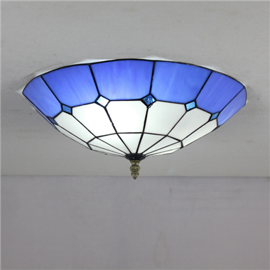 CE120031 12 inch tiffany ceiling lamp Round Glass Flush Mount Ceiling Lighting