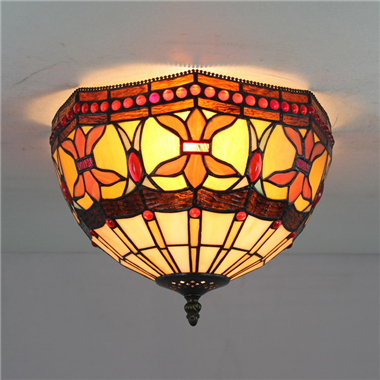 CE120032 12 inch tiffany ceiling lamp Round Glass Flush Mount Ceiling Lighting
