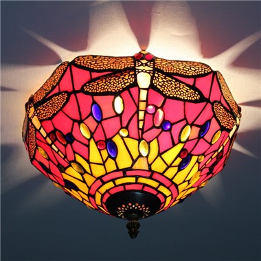 CE120033 12 inch tiffany ceiling lamp Round Glass Flush Mount Ceiling Lighting