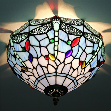 CE120034 12 inch tiffany ceiling lamp Round Glass Flush Mount Ceiling Lighting