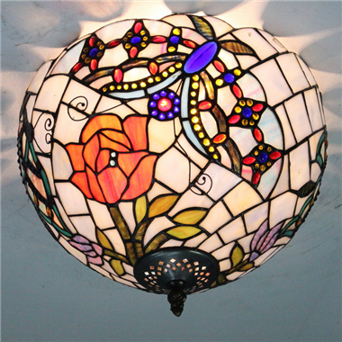 CE120036 12 inch tiffany ceiling lamp Round Glass Flush Mount Ceiling Lighting