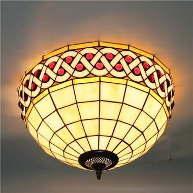 CE120037 12 inch tiffany ceiling lamp Round Glass Flush Mount Ceiling Lighting