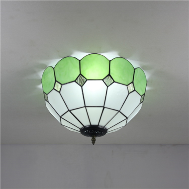 CE120038 12 inch tiffany ceiling lamp Round Glass Flush Mount Ceiling Lighting